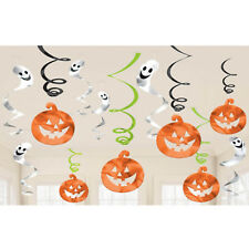 12 Assorted Happy Halloween Pumpkins Ghosts Party Hanging Swirls Decorations