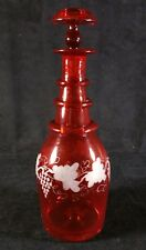 Vintage Bohemian Czech Red Etched To Clear Mouth Blown Decanter And Stopper EXC