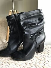 Guess black genuine leather mid calf boots us 9.5 uk 7.5