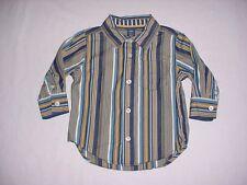 EUC Baby GAP Boys Blue & Yellow Striped Button Down Dress Shirt 12-18 M