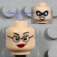 NEW Lego Light Flesh FEMALE MINIFIG HEAD - Girl w/Red Lips Glasses Smile & Mask