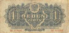 Poland  1  Zloty  1944  P 105  Series BH  WWII  Issue  Circulated Banknote SS5