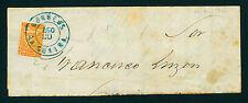 VENEZUELA 1862  Coat of Arms  ½r orange  Sc#1a  on large part cvr from LA GUAIRA