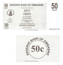 Zimbabwe 50 Cents Bearer 2006 P-36 First Prefix 'AA' Banknotes UNC