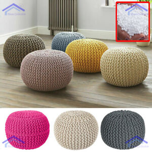 50CM KNITTED POUFFE LARGE CHUNKY FOOT STOOLS CUSHION BEANS MOROCCAN 100% COTTON
