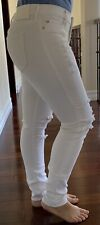 TRUE RELIGION WOMENS JEANS 28 DESTROYED WHITE MID RISE SUPER SKINNY  MADE IN USA