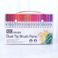 100pcs Dual Tip Brush Markers Paint Drawing Art Pens Watercolor Set 12/24/36/48