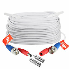 ZOSI CCTV Security Camera BNC Cable 100ft Wire Cord Video Power Cable White