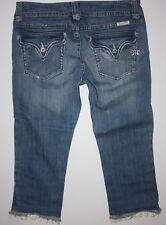"""MISS ME CAPRIS Jeans Womens Sz 28 x 22"""" DISTRESSED RUFFLE FLAP Blue Denim EUC!"""