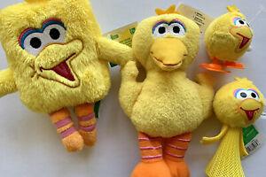 Big Bird Plush Lot Sesame Street Wind Up Key Ring Zip Birdie Set Toys Birthday