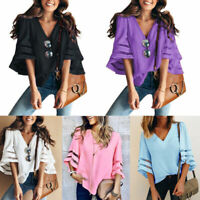 Fashion Womens Short Sleeve Loose Blouse Casual Shirt Summer Chiffon Top T-Shirt