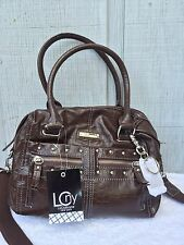 Liz Claiborne New York Croco Embossed Studded Satchel w/Cosmetic Case NWT