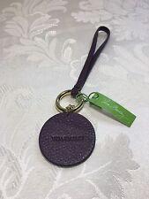 Vera Bradley Charming Circle Aubergine Keychain Genuine Leather
