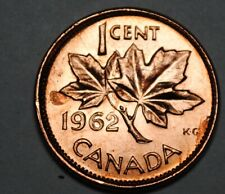 1962 Double Date 1 Cent Canada Copper Unc Canadian Error/Variety Coin Lot #E29
