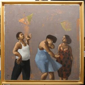 Jean-Yves Madec Modern Dancing Figures Painting Contemporary French Artist