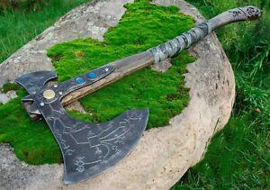 Custom Handmade Carbon Steel Kratos battle axe , 2nd Style Of God Of War, Wood
