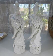 "Antique pair of figurine Blanc de Chine Chinese porcelain Guanyin 12"" signed"