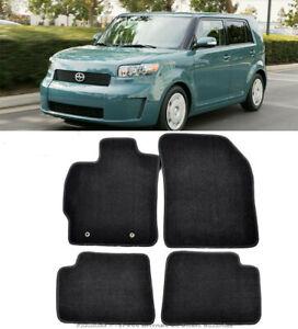 4 Pcs Custom Fit Black Trim Front Rear Nylon Carpet Floor Mat For 08-15 Scion XB
