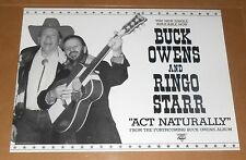Buck Owens and Ringo Starr Act Naturally Promo Poster 24x18 Beatles Country
