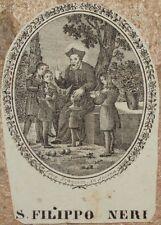 SAN FILIPPO NERI IMMAGINETTA SACRA HOLY IMAGE 1850 CIRCA LITOGRAFIA FIRENZE