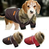 Leather Dog Coat Wind/Waterproof Jacket Clothes Jumpsuit for Small Medium Dogs