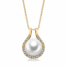 18k Gold 925 Sterling Silver with Swarovski crystal pearl pendant necklace ITALY