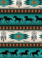 Fabric Native Horses Tucson Stripe Turquoise Cotton Elizabeth 1/4 yard