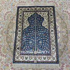 YILONG 2'x3' Blue Handmade Silk Area Rug Tree Of Life Traditional Carpet HF124B