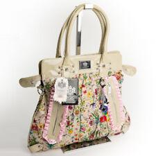 Retro Citybag Schulter Trage Shopper Blumen Henkel Tasche Beige Design LYDC 76B