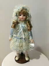 Victorian porcelain doll By Denton blue dress w/ bonnet, bloomers, and stand