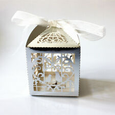 50 Luxury Silver Bomboniere Boxes Wedding Party Favor Gift Box Candy Boxes