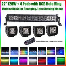 "22"" LED Light Bar MultiColor RGB Halo + 4PCS CREE 3"" Pods for Jeep 4X4 Ford ATV"