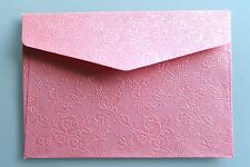 50 X MINI EMBROSSED FLOWER ENVELOPES (80mm X 115mm) - PINK