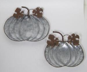 Rustic Country Style Pumpkin Shaped Decorative Galvanized Metal Trays Set of 2