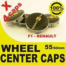 tapas llantas  ruedas RENAULT F1 CARBONO wheel center caps 55mm 60mm 4x