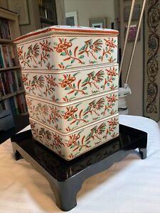 Vtg Tachikichi Japanese Stackable (4) Porcelain Dishes/Base, Burnt Orange/Gold