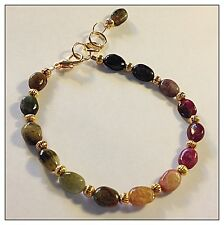 Genuine Tourmaline Gemstone Bracelet Natural Gemstones watermelon rainbow