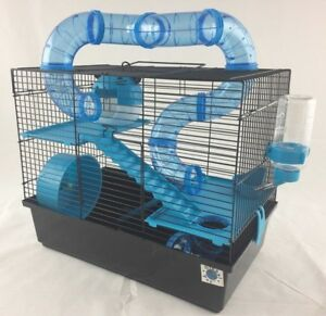 Bernie Large Dwarf Hamster Small Pet Cage 3 Tier With Tubes - Blue or Pink