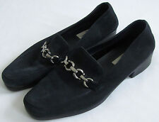 CAPEZIO LITES Chain Link Black Suede Leather Loafers Slip-On Shoes 8.5 M