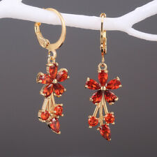 Gorgeous 5 Colors Drop Earrings Women 18k Yellow Gold Plated Jewelry A Pair/set