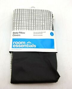 New Room Essentials RE 2 Pack of Body Pillow Covers Gray & White Checkered Dorm