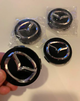 Mazda 4 X 56mm Schwarz ABS Alufelge Nabenkappen Nabendeckel Satz