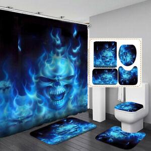 Flame Skull Non-Slip Bath Mat Toilet Cover Rugs Shower Curtain Bathroom Decor