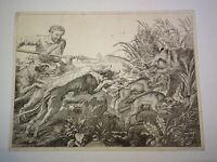 Louis Claude LEGRAND (1723-1807) Gravure XVIII CHASSE CHIEN SANGLIER RUBENS 1780