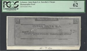 Lebanon - Intra Bank S.A Traveller's Cheque 20 Pounds Photographic Proof UNC