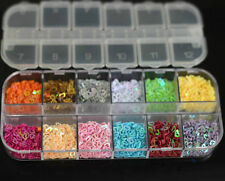 12 Colors Heart Shape Hollow Design Spangles Glitter 3D Nail Art Tips Deco New