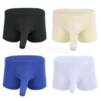 Mens Smooth Ice Silk Boxer Briefs Shorts Long Sleeve Sheath Underwear Underpants