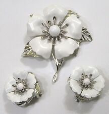 Vintage Jewelry Sarah Coventry Brooch Earrings Demi Parure Big White Flowers
