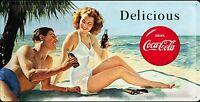 Coca Cola Delicious (Strand) Große Geprägtes Metall Zeichen 500mm x 250mm (Na )