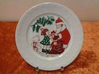 DDR Freiberger Porzellan Kinderteller - um 1960/70 - Weihnachten Weihnachtsmann